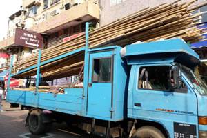 Bamboo being transported in Hong Kong