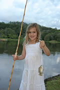 Girl Fishing with a Bamboo Fly Fishing Rod