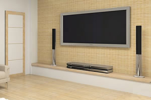 Bamboo Style Wall Decor and TV with Sound System