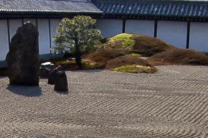 Japanese Zen Garden With Gravel, Stones, Moss, And A Tree