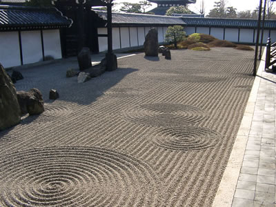 Japanese Zen Garden - Rocks and Gravel Features